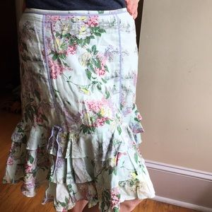 Odille for Anthropologie layered floral skirt